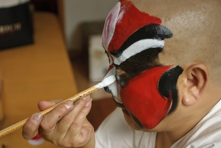 CHENGDU - Jul 26: a chinese opera actor is painting his face backstage at JinJiang theater on Jul 26,2007 in Chengdu,China.