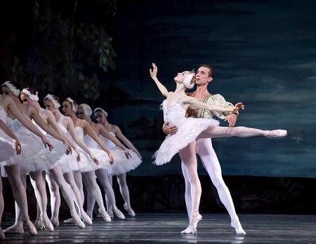 swans: Ballet del lago de los cisnes realizado por ruso royal ballet en el teatro de Jinsha el 24 de diciembre de 2008 en Chengdu, China.