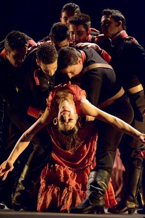 CHENGDU,CHINA - DEC 28: The Best Flamenco Dance Drama Carmen performed by The Ballet Troupe of Spanish Rafael Aguilar(The Ballet Teatro Espanol de Rafael   Aguilar) at JINCHENG theater Dec 28, 2008 in Chengdu, China.