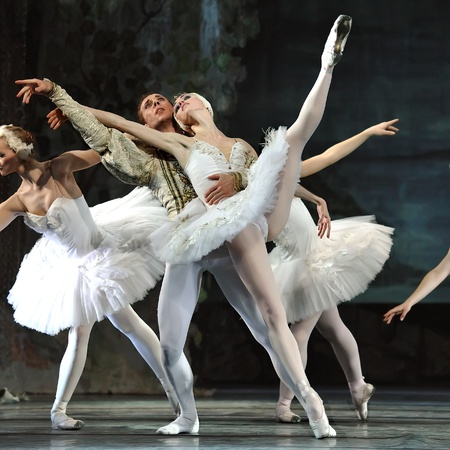 CHENGDU,CHINA - DECEMBER 24: Russian royal ballet perform Swan Lake ballet at Jinsha theater December 24, 2008 in Chengdu, China. Publikacyjne
