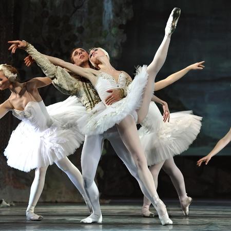 CHENGDU,CHINA - DECEMBER 24: Russian royal ballet perform Swan Lake ballet at Jinsha theater December 24, 2008 in Chengdu, China. Éditoriale