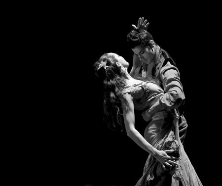 zigeunerin: CHENGDU - DEC 28: The Best Flamenco Dance Drama Carmen Mitwirkende das Ballettensemble der spanischen Rafael Aguilar(The Ballet Teatro Espanol de Rafael Aguilar) JINCHENG Theater Dez 28, 2008 in Chengdu, China.
