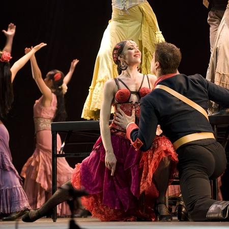 paso doble: CHENGDU - DEC 28: The Best Flamenco Dance Drama Carmen performed by The Ballet Troupe of Spanish Rafael Aguilar at JINCHENG theater Dec 28, 2008 in Chengdu, China.The Ballet Teatro Espanol de Rafael Aguilar. Editorial