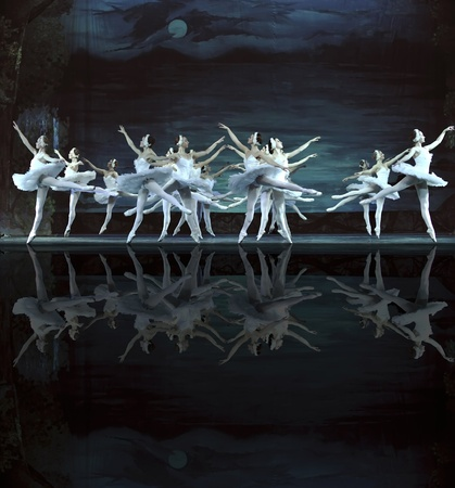 ballet: CHENGDU - DECEMBER 24: Russian royal ballet perform Swan Lake ballet at Jinsha theater December 24, 2008 in Chengdu, China.