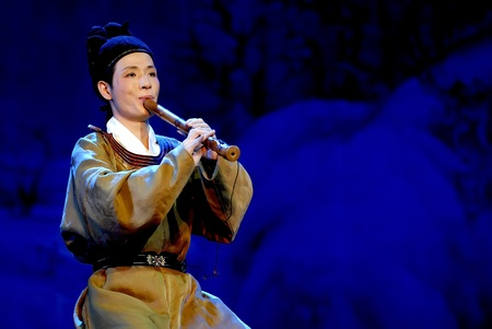 folk heritage: CHENGDU - MAY 23: the chinese famous folk NanYin music Maple Bridge at Night performed by QUANZHOU NanYin music Troupe at Golden theater during the 1st International Festival of the Intangible Cultural Heritage China,2007.May 23, 2007 in Chengdu, China. T
