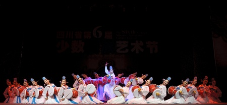 leidenschaft: Korean ethnic dance in the 6th Sichuan minority nationality culture festival at JINJIANG theater.Sep 28,2010 in Chengdu, China.