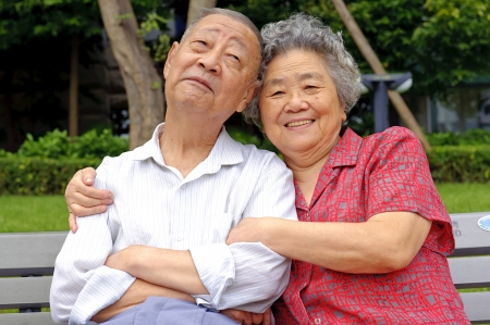 happy senior couple embraced photo