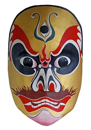 teatro antiguo: pintura facial de �pera tradicional China con fondo blanco aislado