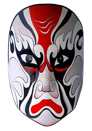 chinese traditional opera facial painting with white isolated background photo