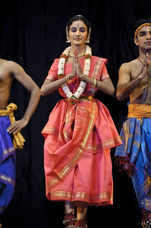 CHENGDU, CHINA - OCT 24,2010: Indian Dancers perform folk dance at JINCHENG theater during the festival of India in china.Oct 24,2010 in Chengdu, China.