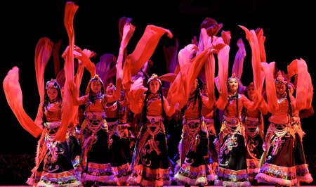 CHENGDU - SEP 28: chinese Tibetan ethnic dancers perform on stage in the 6th Sichuan minority nationality culture festival at JINJIANG theater.Sep 28,2010 in Chengdu, China.