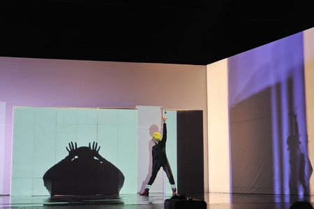 CHENGDU - APR 20: Frence modern dancer performs Dance contemporary on stage at at JINSHA theater on Apr 20, 2011 in Chengdu, China.