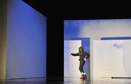 frence: CHENGDU - APR 20: Frence modern dancer performs Dance contemporary on stage at at JINSHA theater on Apr 20, 2011 in Chengdu, China. The dancer is the famous France modern hoofer Dominique Boivin.
