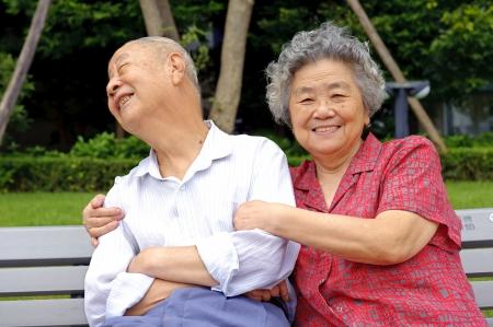 happy senior couple embraced