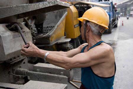 hardworking: hardworking laborer on construction site Stock Photo