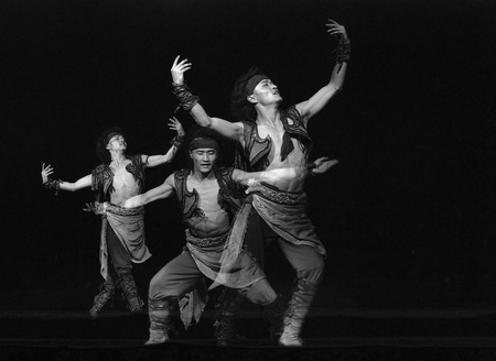 CHENGDU - DEC 14: Chinese Mongolian dancer performs folk\ dance onstage at Golden theater.Dec 14,2007 in Chengdu, China.\