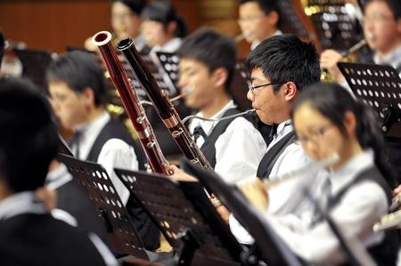fagot: bassoon boy on concert Zdjęcie Seryjne