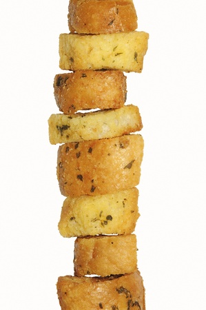closeup of delicious bread croutons photo