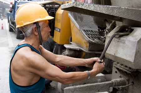 hardworking laborer on construction site Stock Photo - 9632267