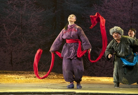CHENGDU - MAY 29: chinese Ping opera performer make a show on stage to compete for awards at Xinan theater in 25th Chinese Drama Plum Blossom Award competition.May 29, 2011 in Chengdu, China.Chinese Drama Plum Blossom Award is the highest theatrical awar Stock Photo - 9690561