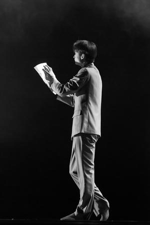 CHENGDU - DEC 11: professional modern dancer performs solo dance on stage at JINCHENG theater.Dec 11, 2007 in Chengdu, China.Choreographer: Xiao Xiangrong, Chang Xiaoni, Cast: Sun Rui Stock Photo - 9690514