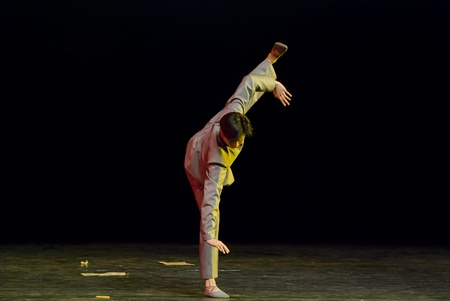 rui: CHENGDU - DEC 15: professional modern dancer performs solo dance on stage at JINCHENG theater.Dec 15, 2007 in Chengdu, China.Choreographer: Xiao Xiangrong, Chang Xiaoni, Cast: Sun Rui