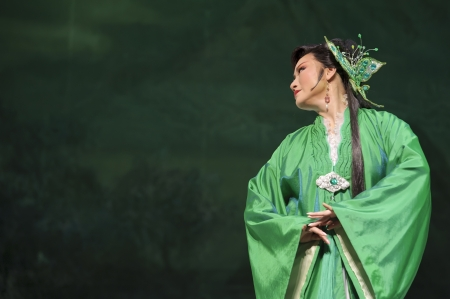 yue opera: CHENGDU - MAY 31: chinese Yue opera performer make a show on stage to compete for awards in 25th Chinese Drama Plum Blossom Award competition at Experimental theater.May 31, 2011 in Chengdu, China. Chinese Drama Plum Blossom Award is the highest theatrica Editorial