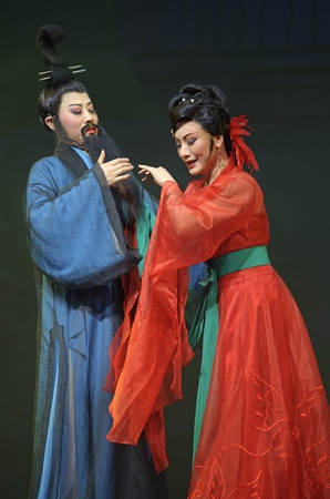 yue opera: CHENGDU - MAY 31: chinese Yue opera performer make a show on stage to compete for awards in 25th Chinese Drama Plum Blossom Award competition at Experimental theater.May 31, 2011 in Chengdu, China.Chinese Drama Plum Blossom Award is the highest theatrical