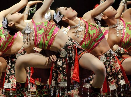 CHENGDU - DEC 12: chinese dancers perform modern group dance on stage at JINCHENG theater in the 7th national dance competition of china on Dec 12,2007 in Chengdu, China. Stock Photo - 9735271