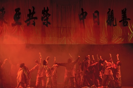 CHENGDU - MAY 29: chinese Ping opera performer make a show on stage to compete for awards at Xinan theater in 25th Chinese Drama Plum Blossom Award competition.May 29, 2011 in Chengdu, China.Chinese Drama Plum Blossom Award is the highest theatrical awar Stock Photo - 9754391