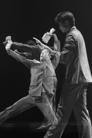 CHENGDU - DEC 20: professional modern dancer performs solo dance on stage at JINCHENG theater.Dec 20, 2007 in Chengdu, China.Choreographer: Xiao Xiangrong, Chang Xiaoni, Cast: Sun Rui Stock Photo - 9889625