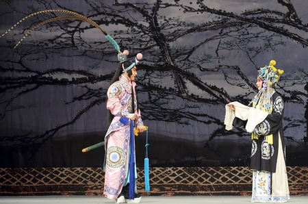 elegancy: CHENGDU - MAY 30: chinese Beijing opera performer make a show on stage to compete for awards at Shengge theater in 25th Chinese Drama Plum Blossom Award competition.May 30, 2011 in Chengdu, China. Chinese Drama Plum Blossom Award is the highest theatrical Editorial