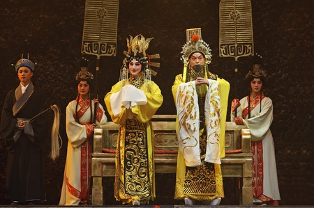 CHENGDU - JUN 1: chinese Beijing opera performer make a show on stage to compete for awards in 25th Chinese Drama Plum Blossom Award competition at Shengge theater.Jun 1, 2011 in Chengdu, China. Chinese Drama Plum Blossom Award is the highest theatrical a