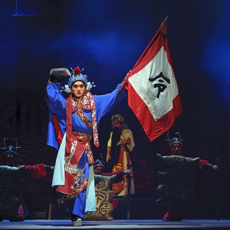 exaggerate: CHENGDU - JUN 1: chinese Beijing opera performer make a show on stage to compete for awards in 25th Chinese Drama Plum Blossom Award competition at Shengge theater.Jun 1, 2011 in Chengdu, China. Chinese Drama Plum Blossom Award is the highest theatrical a