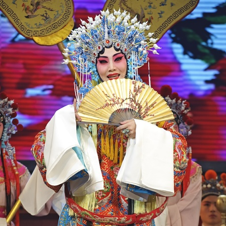 CHENGDU - JUN 4: chinese Hui opera performer make a show on stage to compete for awards in 25th Chinese Drama Plum Blossom Award competition at Xinan theater.Jun 4, 2011 in Chengdu, China.Chinese Drama Plum Blossom Award is the highest theatrical award i Stock Photo - 10753284
