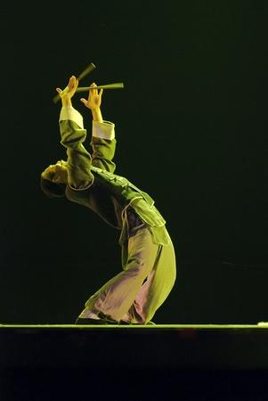 CHENGDU - DEC 12: modern dancer performs solo dance on stage at JINCHENG theater.Dec 12,2007 in Chengdu, China. Choreographer: Wang Tianyou, Cast: Wu Hao