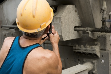 laboring: hardworking laborer on construction site Stock Photo