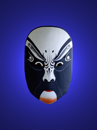 mask of opera with blue isolated background photo