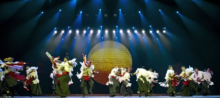 CHENGDU - SEP 26: chinese Yi ethnic dancers perform on stage at JIAOZI theater.Sep 26,2010 in Chengdu, China. Stock Photo - 11379101