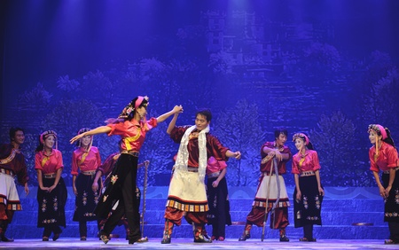 CHENGDU - SEP 27: chinese Tibetan ethnic dancers perform on stage at Sichuan experimental theater.Sep 27,2010 in Chengdu, China. Stock Photo - 11593639
