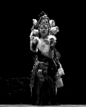 CHENGDU - SEP 28: chinese Tibetan ethnic dancer performs on stage in the 6th Sichuan minority nationality culture festival at JINJIANG theater.Sep 28,2010 in Chengdu, China. Stock Photo - 11987543