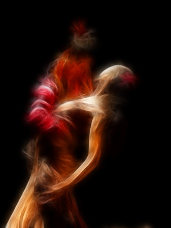rafael aguilar: abstract artistic picture of flamenco dancers