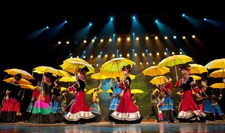 CHENGDU - SEP 26: chinese Yi ethnic dancers perform on stage at JIAOZI theater.Sep 26,2010 in Chengdu, China. Stock Photo - 12817966