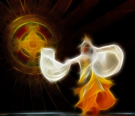 national costume: abstract artistic picture of dancer