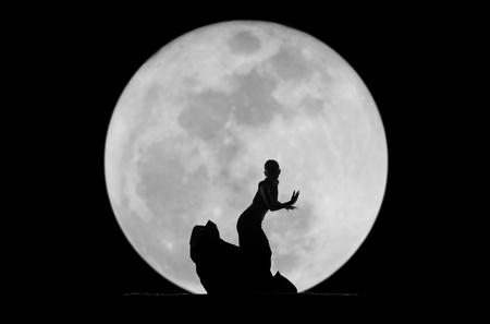danseres silhouet: sierlijke danser silhouet Stockfoto