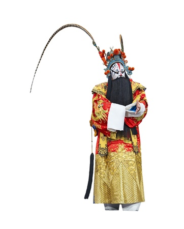 exaggerate: chinese traditional opera actor with white isolated background Stock Photo