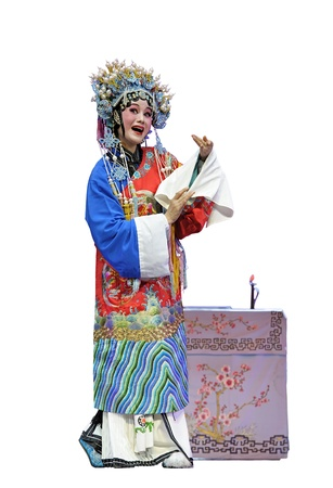 chinese traditional opera actress with white isolated background photo