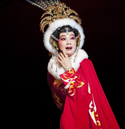 chinese opera: CHENGDU - JUN 6: Chinese Gaojia Opera performer make a show on stage to compete for awards in 25th Chinese Drama Plum Blossom Award competition at Jinsha theater.Jun 6, 2011 in Chengdu, China. Chinese Drama Plum Blossom Award is the highest theatrical awa