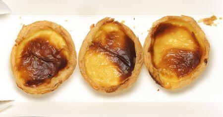 egg tart: closeup of delicious baking egg tart