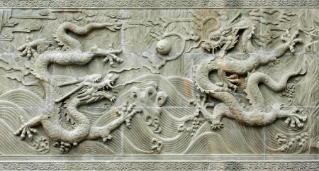 chinese traditional dragons relief photo